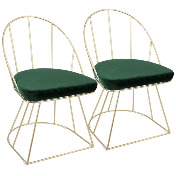 2 Lumisource Canary Gold Green Fabric Dining Chairs LUMI-DC-CNRY-AU-GN2