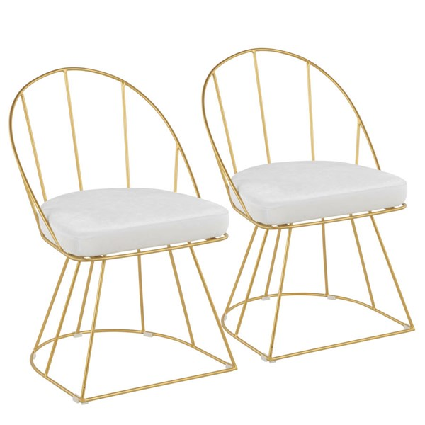 2 Lumisource Canary Gold White Fabric Dining Chairs LUMI-DC-CNRY-AU-VW2