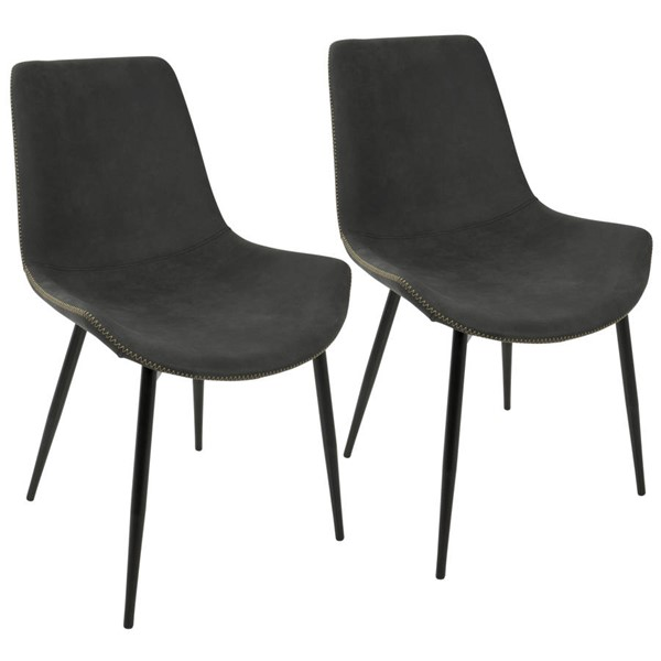 2 Lumisource Duke Grey Dining Chairs LUMI-DC-DUKZ-BK-GY2