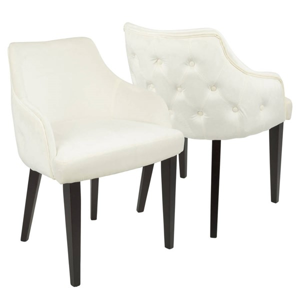 2 Lumisource Eliza Cream Dining Chairs LUMI-DC-ELZA-E-CR2