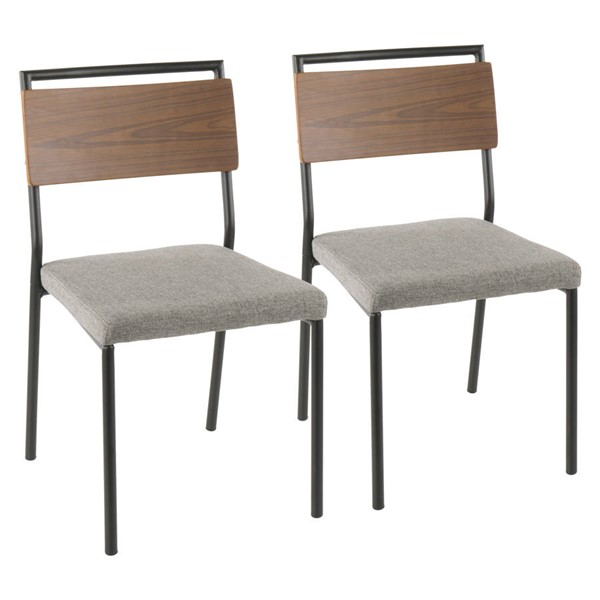 2 Lumisource Fiji Black Grey Dining Chairs LUMI-DC-FIJI-BK-GY2