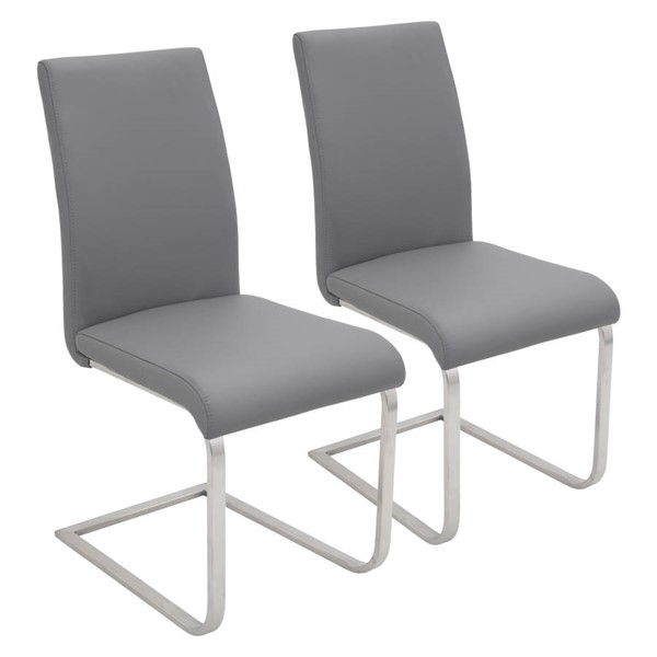2 Lumisource Foster Grey Dining Chairs LUMI-DC-FSTR-GY2