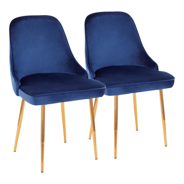 2 LumiSource Marcel Gold Navy Blue Dining Chairs LUMI-DC-MARCL-AU-NB2