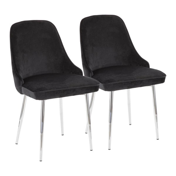 2 Lumisource Marcel Chrome Black Dining Chairs LUMI-DC-MARCL-BK2