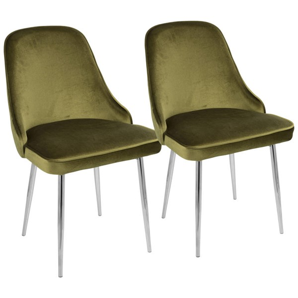 2 Lumisource Marcel Chrome Green Dining Chairs LUMI-DC-MARCL-GN2