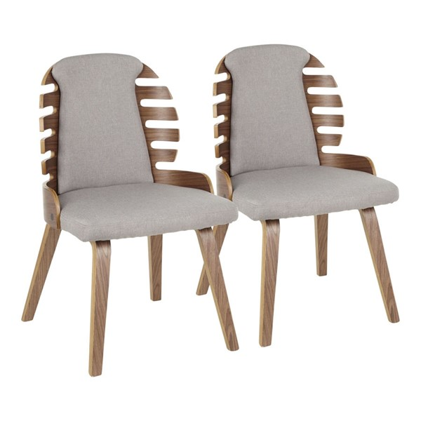 2 LumiSource Palm Walnut Grey Dining Chairs LUMI-DC-PALM-WLGY2