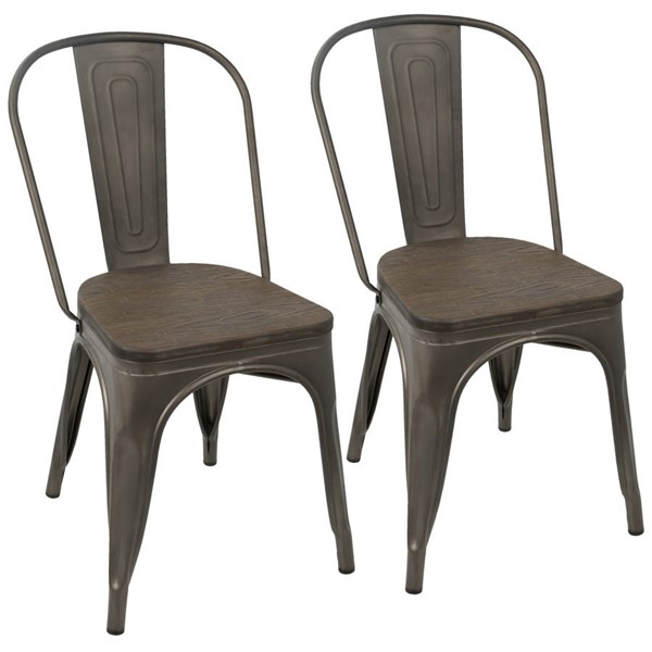 2 Lumisource Oregon Antique Espresso Dining Chairs LUMI-DC-TW-OR-DKESP2