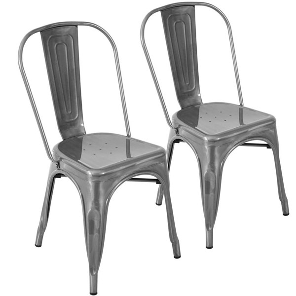 2 Lumisource Oregon Brushed Silver Dining Chairs LUMI-DC-TW-OR-SV2