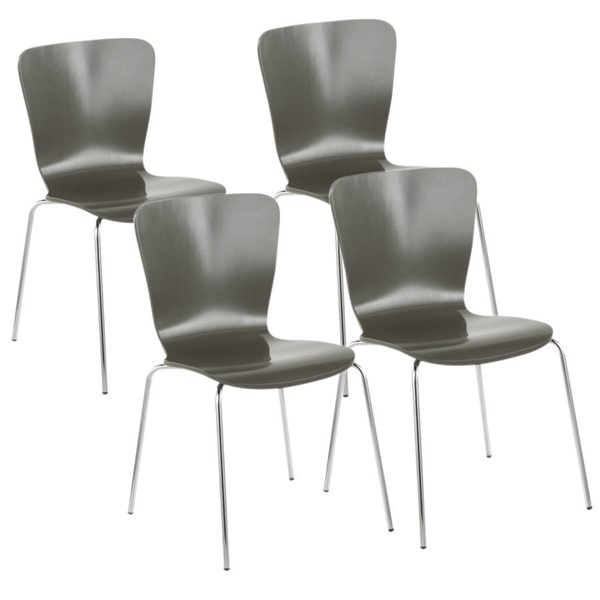4 Lumisource Bentwood Grey Dining Chairs LUMI-DC-TW-STAK-GY4