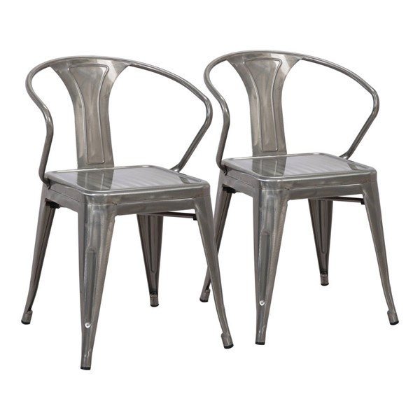 2 Lumisource Waco Clear Brushed Silver Chairs LUMI-DC-WCO-SV2