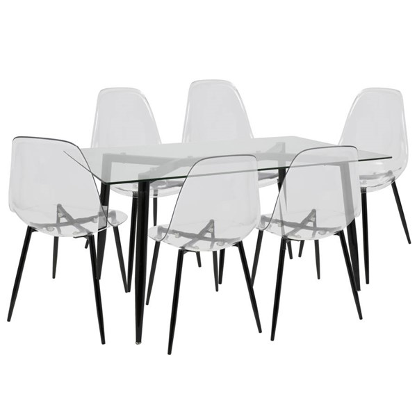 Lumisource Clara Black Clear 7pc Dining Set LUMI-DS-CLRA7-BK-CL