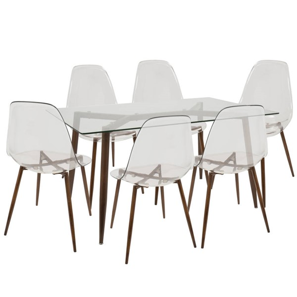 Lumisource Clara Walnut Clear 7pc Dining Set LUMI-DS-CLRA7-WL-CL