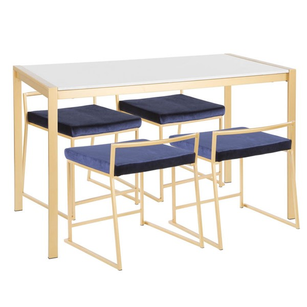 Lumisource Fuji Gold White Blue 5pc Dining Set LUMI-DS-FUJI47-AUMB-VBU