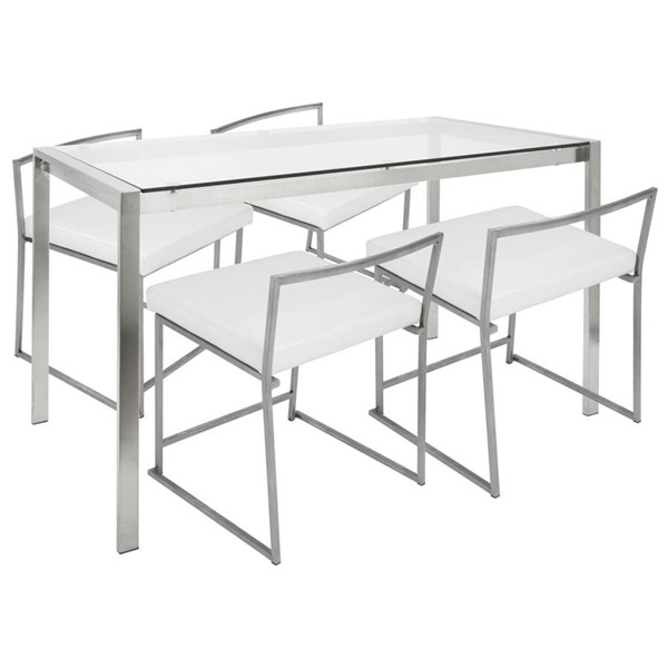 Lumisource Fuji White 5pc Dining Set LUMI-DS-FUJI47-W-CL