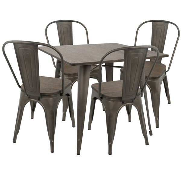 Lumisource Oregon Antique Espresso 5pc Dining Set LUMI-DS-OR5-AN-E