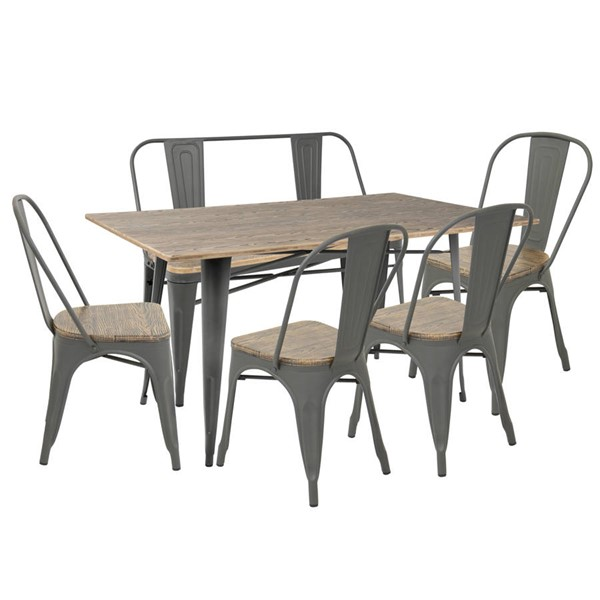Lumisource Oregon Grey Brown 6pc Dining Sets LUMI-DS-OR6-VAR