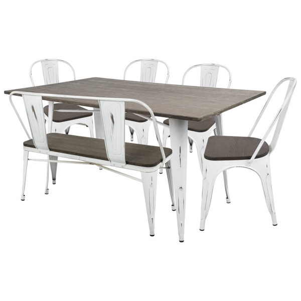 Lumisource Oregon White Espresso 6pc Dining Set LUMI-DS-OR6-VW-E