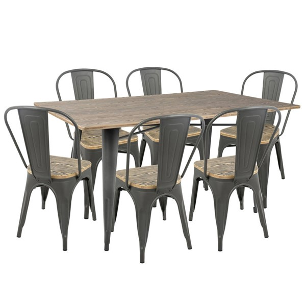 Lumisource Oregon Grey Brown 7pc Dining Sets LUMI-DS-OR7-VAR