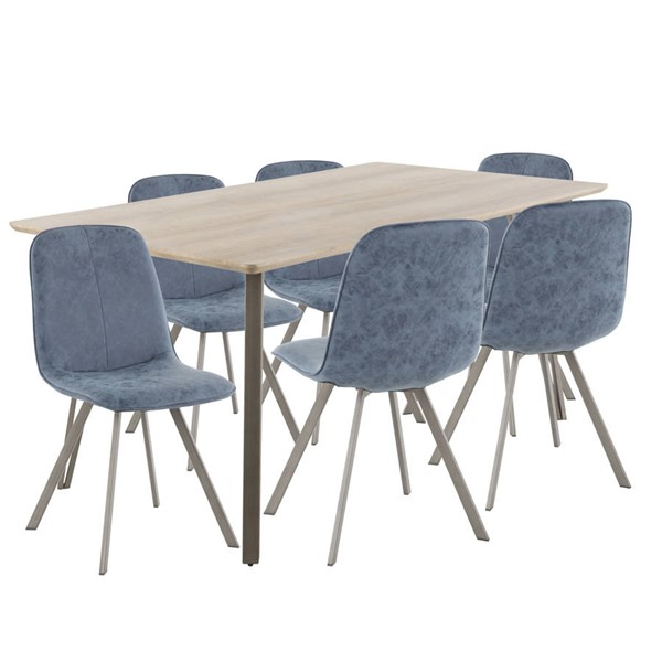 Lumisource Sedona Light Brown Blue 7pc Dining Set LUMI-DS-SDNA7-LBN-BU
