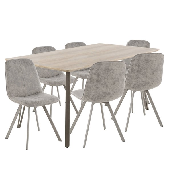 Lumisource Sedona Light Brown Grey 7pc Dining Set LUMI-DS-SDNA7-LBN-GY