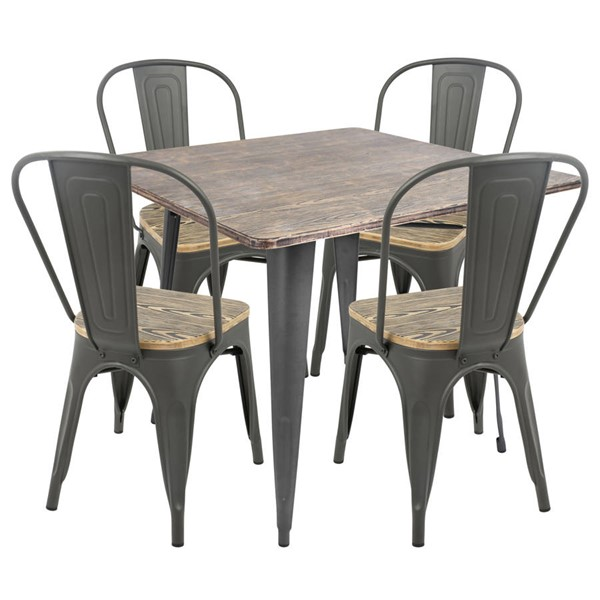 Lumisource Oregon Gray 5pc Dining Set LUMI-DS-TW-OR-SQ