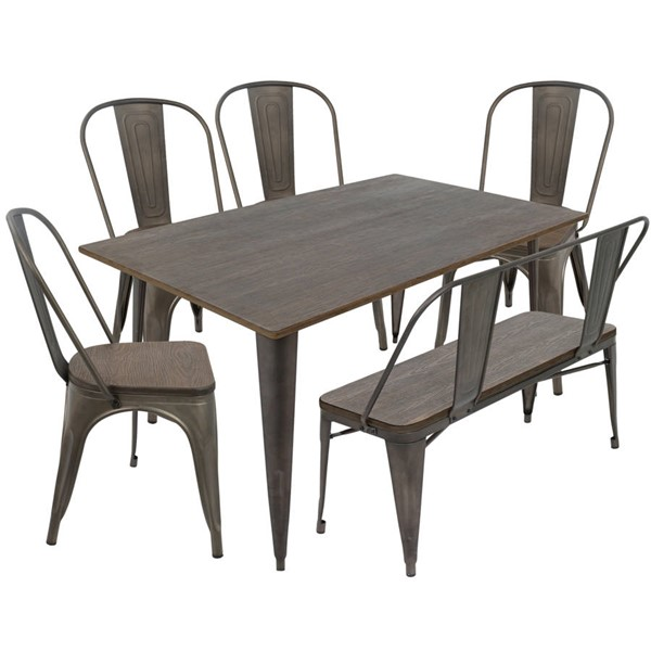 Lumisource Oregon Antique Espresso 6pc Dining Set LUMI-DS-TW-OR6036-E6