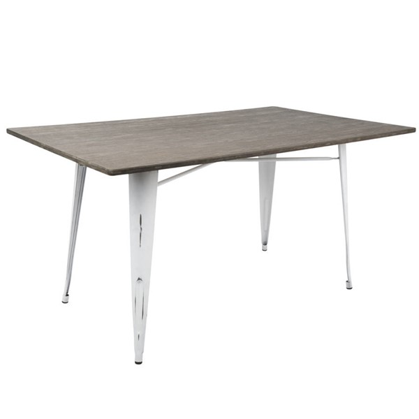 Lumisource Oregon White Espresso Rectangle Dining Table LUMI-DT-6036OR-VW-E