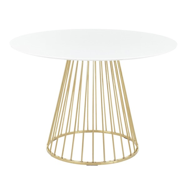 Lumisource Canary Gold White MDF Dining Table LUMI-DT-CANARY2-AUW