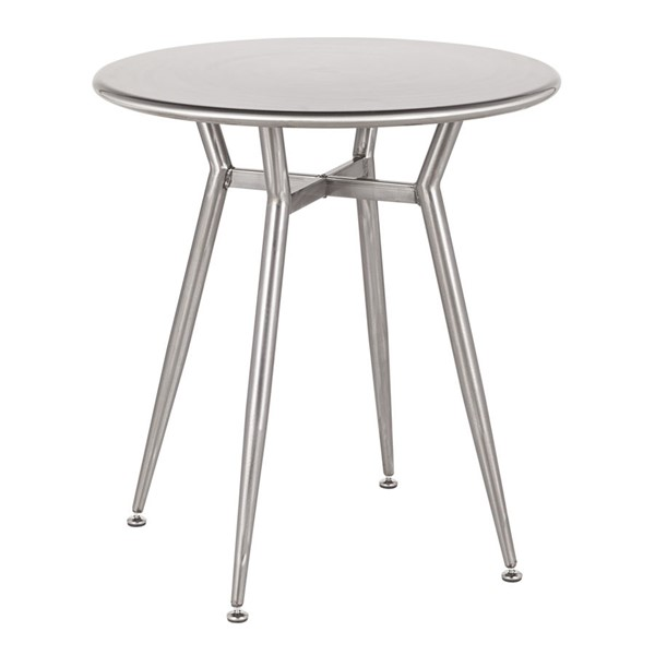 LumiSource Clara Clear Brushed Silver Round Dinette Table LUMI-DT-CLARARN-SV