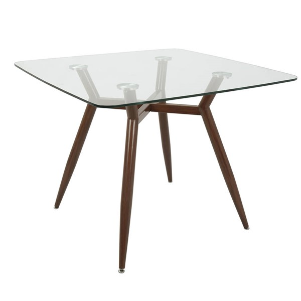 Lumisource Clara Walnut Clear Square Dining Table LUMI-DT-CLR3838-WLGL