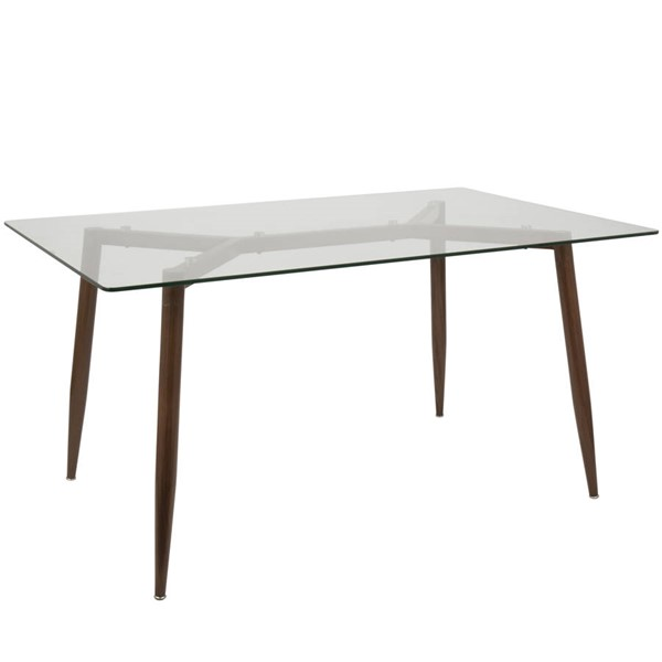 Lumisource Clara Walnut Clear Rectangle Dining Table LUMI-DT-CLRA-WL-CL