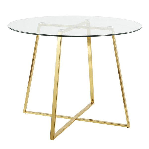 Lumisource Cosmo Gold Clear Glass Dining Table LUMI-DT-COSMO2-AUGL