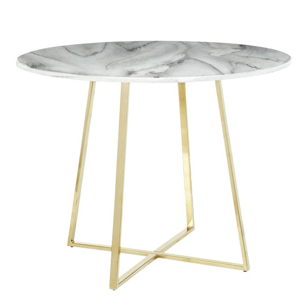 Lumisource Cosmo Gold White Marble Dining Table LUMI-DT-COSMO2-AUWMB