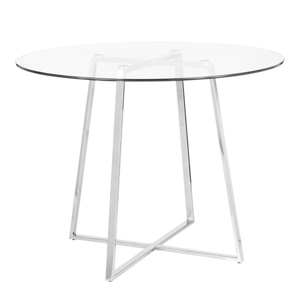 Lumisource Cosmo Chrome Clear Glass Dining Table LUMI-DT-COSMO2-GL