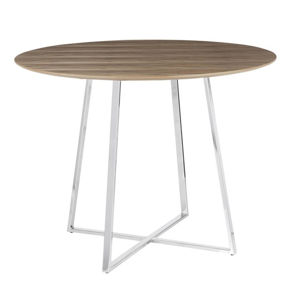 Lumisource Cosmo Chrome Walnut Wood Dining Table LUMI-DT-COSMO2-WL