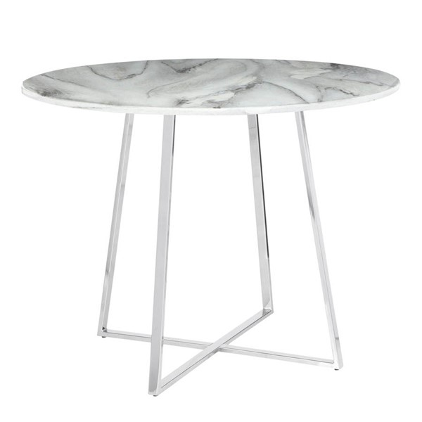 Lumisource Cosmo Chrome White Marble Dining Table LUMI-DT-COSMO2-WMB