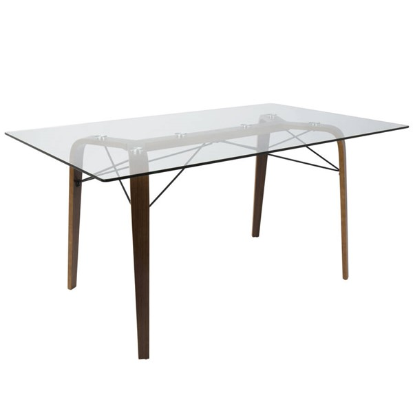 Lumisource Trilogy Walnut Clear Dining Table LUMI-DT-TRL6235-WLCL