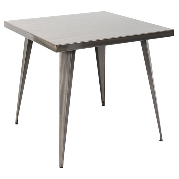Lumisource Austin Brushed Silver Square Dining Table LUMI-DT-TW-AU3232-SV