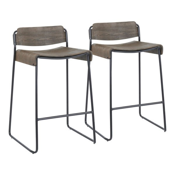 2 Lumisource Dali Black Espresso Counter Stools LUMI-B26-LBDALI-BKE2