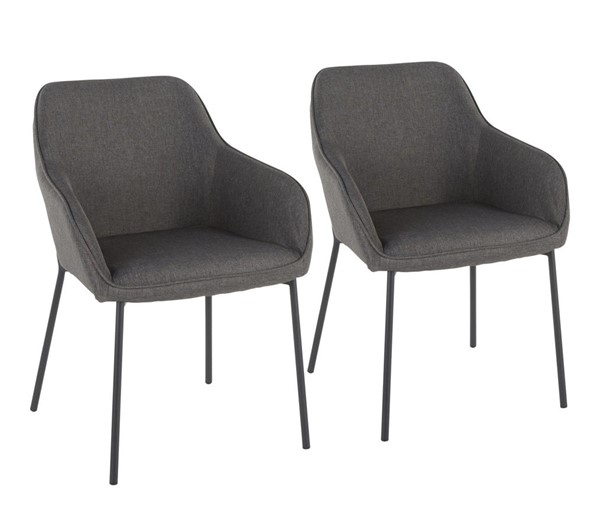 2 Lumisource Daniella Black Charcoal Dining Chairs LUMI-DC-DANIELLA-BKCHAR2