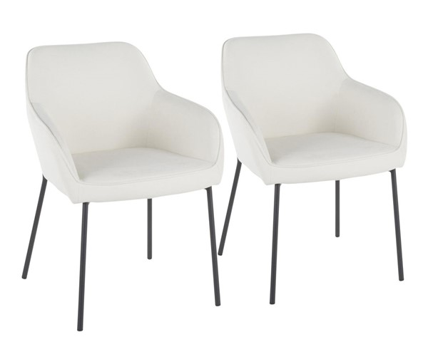 2 Lumisource Daniella Black Cream Dining Chairs LUMI-DC-DANIELLA-BKCR2