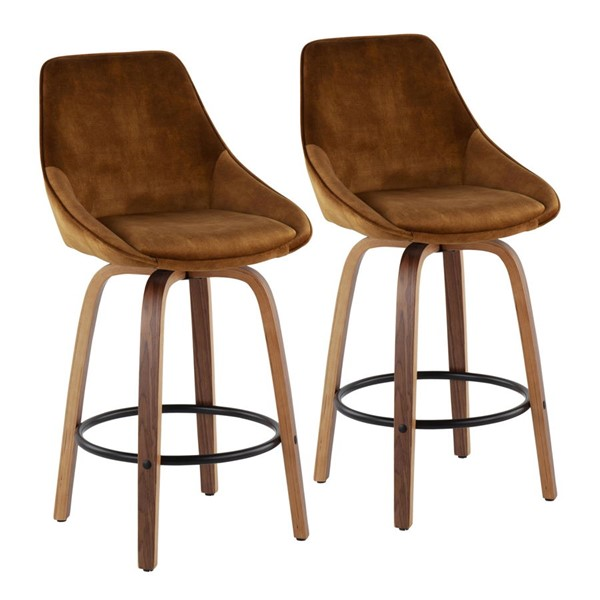 2 Lumisource Diana Gold Black Velvet Counter Stools LUMI-B26-DIANA-GRTQ-WLVY2
