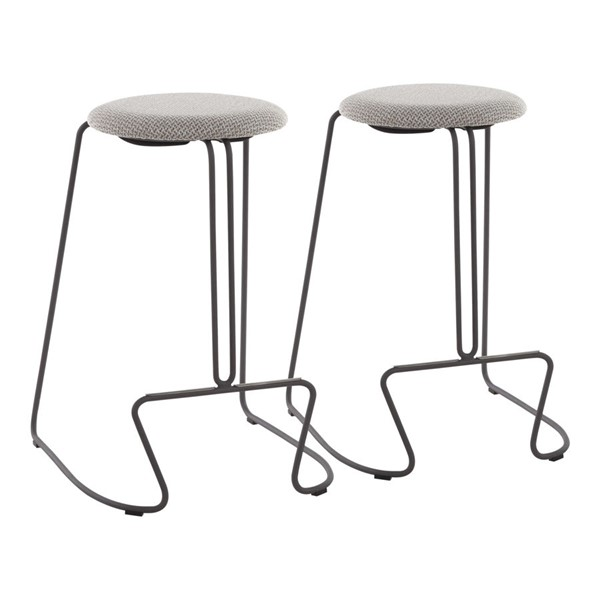 2 Lumisource Finn Light Grey Fabric Counter Stools LUMI-B26-FINN-GYLGY2