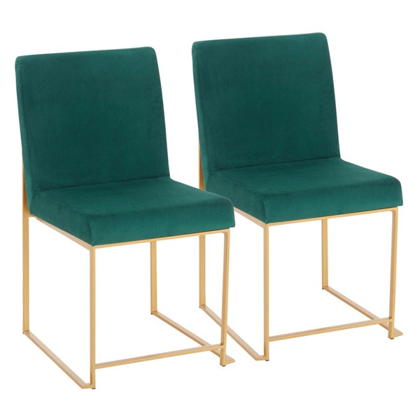 2 Lumisource Fuji Gold Green Velvet High Back Dining Chairs LUMI-DC-HBFUJI-AUVGN2