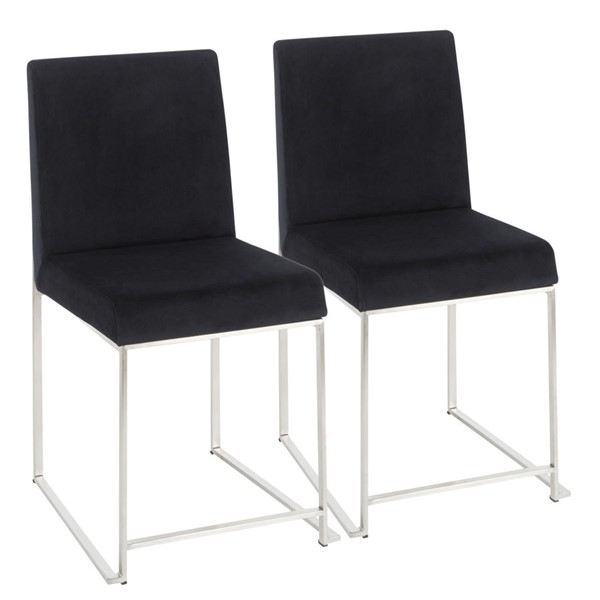 2 Lumisource Fuji Velvet High Back Dining Chair LUMI-DC-HBFUJI-SSV-DR-CH-VAR