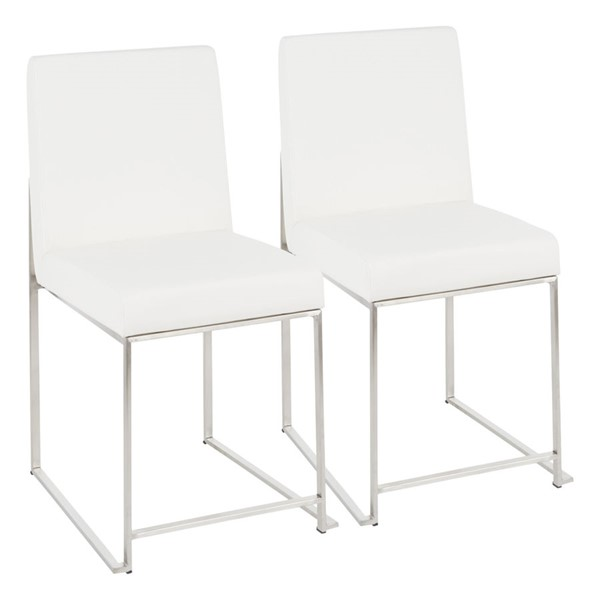 2 Lumisource Fuji White High Back Dining Chairs LUMI-DC-HBFUJI-SSW2