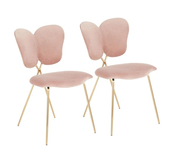 2 Lumisource Madeline Gold Blush Pink Chairs LUMI-CH-MADELINE-AUPK2