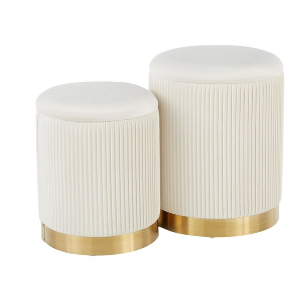 Lumisource Marla Gold Cream Nesting Ottoman Set LUMI-OT-MARLA-PLT-VCR