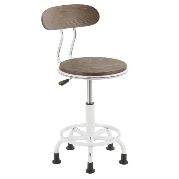 Lumisource Dakota White Espresso Task Chair LUMI-OC-DKTA-VW-BN