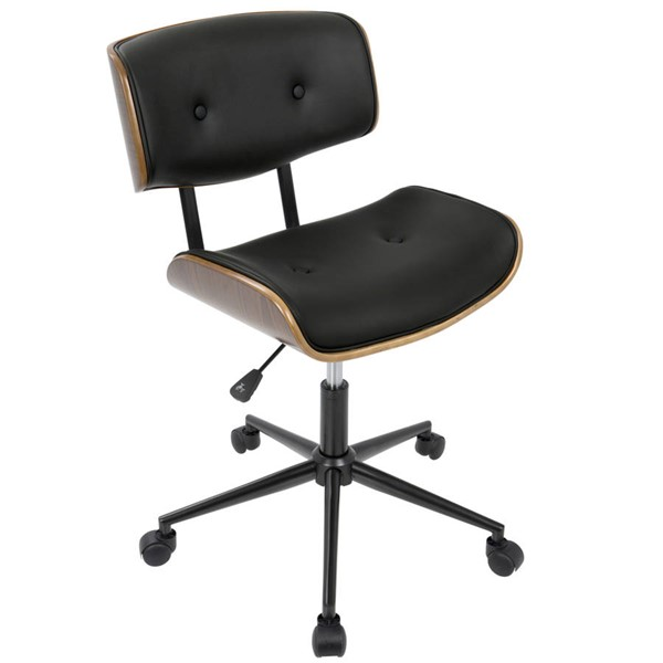 Lumisource Lombardi Walnut Black Office Chair LUMI-OC-JY-LMB-WL-BK